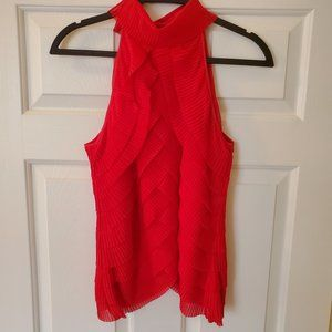 Samuel Dong Red Sleeveless Pleated Blouse SZ L